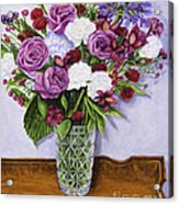 Special Bouquet In Crystal Vase On Heirloom Table Acrylic Print