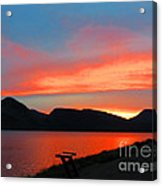 Spectacular Sunset On The Lake. Yellowstone. Acrylic Print