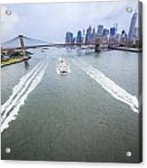 Speed Boats And Barge At East River In Front Of The Brooklyn Bridge And Manhattan Skyline Acrylic Print