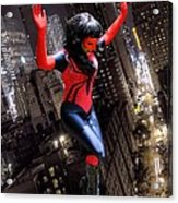 Spider Gal Leaping Acrylic Print