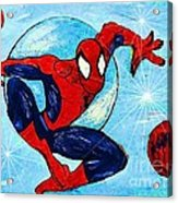 Spiderman Out Of The Blue 2 Acrylic Print by Saundra Myles