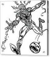Spidey Dodges A Pumpkin Bomb Acrylic Print