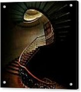 Spiral Staircase In Green And Red Acrylic Print