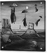 Spirits Of The Flying Umbrellas Bw Acrylic Print