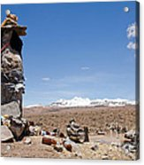 Spiritual Cairn In The Peruvian Altiplano Acrylic Print