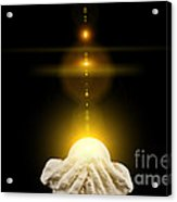 Spiritual Healing Light In Cupped Hands On Black Acrylic Print