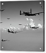 Spitfires Escorting Lancasters Black And White Version Acrylic Print