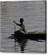 Splashing In The Water Caused Due To Kashmiri Man Rowing A Small Boat Acrylic Print