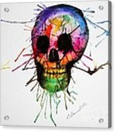 Splatter Skull Acrylic Print by Christy Bruna