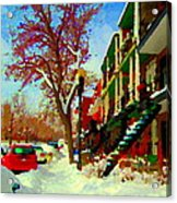 Splendor And Colors Of Quebec Winters Verdun Montreal Urban Street Scene Carole Spandau Acrylic Print