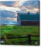 Split Rail Fence Barn Acrylic Print