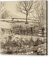 Split Rail Winter Sepia Acrylic Print