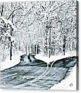 Split Snowy Road Acrylic Print