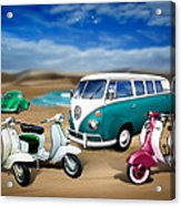 Splitty Vw Beetle And Scooters Acrylic Print