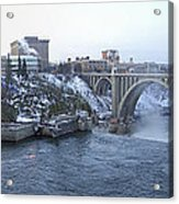 Spokane City Skyline On A Frigid Morning Acrylic Print