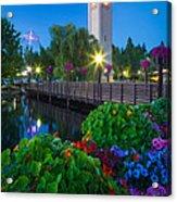 Spokane Clocktower By Night Acrylic Print