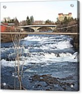 Spokane Falls In Winter Acrylic Print