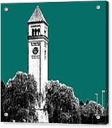Spokane Skyline Clock Tower - Sea Green Acrylic Print