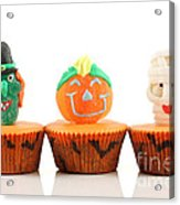 Spooks Cup Cakes On White Background Acrylic Print
