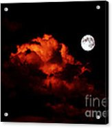 Spooky Clouds With Glowing Moon Acrylic Print