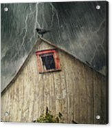 Spooky Old Barn With Crows On A Stormy Night Acrylic Print by Sandra Cunningham