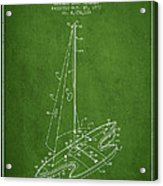Sport Sailboat Patent From 1977 - Green Acrylic Print