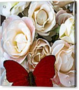 Spray Roses And Red Butterfly Acrylic Print