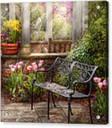 Spring - Bench - A Place To Retire  Acrylic Print by Mike Savad