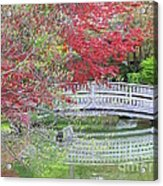 Spring Color Over Japanese Garden Bridge Acrylic Print