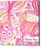Spring Flowers Thank You Card Acrylic Print by Linda Woods