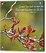 Spring Leaves Greeting Card With Verse Acrylic Print