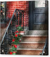 Spring - Porch - Hoboken Nj - Geraniums On Stairs Acrylic Print by Mike Savad