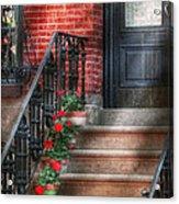 Spring - Porch - Hoboken Nj - Geraniums On Stairs Acrylic Print