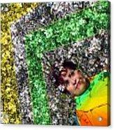 Spring Rainbow And Girl Acrylic Print