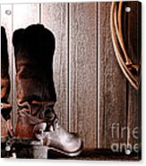 Spurs On Cowboy Boots Heels Acrylic Print