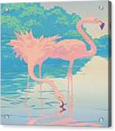 Square Format - Pink Flamingos Retro Pop Art Nouveau Tropical Bird 80s 1980s Florida Painting Print Acrylic Print