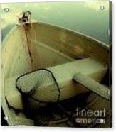 Square Polaroid Fishing Boat Acrylic Print