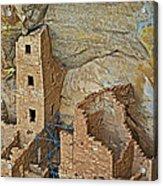 Square Tower House Closeup On Chapin Mesa Top Loop Road In Mesa Verde National Park-colorado Acrylic Print
