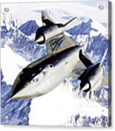 Sr-71 Over Snow Capped Mountains Acrylic Print