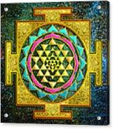 Sri Yantra Gold And Stars Acrylic Print