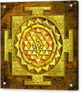 Sri Yantra Gold Stone Acrylic Print