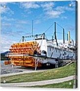 Ss Klondike Sternwheeler From Stern On The Yukon River In Whitehorse-yk Acrylic Print