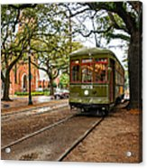 St. Charles Ave. Streetcar In New Orleans Acrylic Print