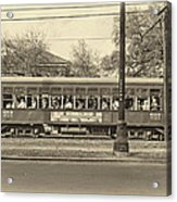St. Charles Ave. Streetcar Sepia Acrylic Print