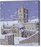 St David S Cathedral In The Snow Acrylic Print by Huw S Parsons