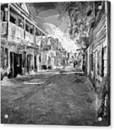 St George Street St Augustine Florida Painted Bw Acrylic Print