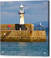 St Ives And Godrevy Lighthouses Cornwall Acrylic Print
