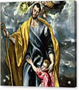 Saint Joseph And The Christ Child Acrylic Print