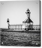 St. Joseph Lighthouses Black And White Picture  Acrylic Print