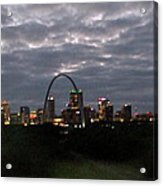 St. Louis Arch At Dusk From The Train Acrylic Print